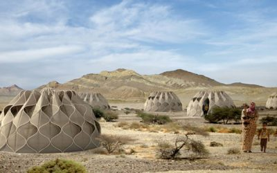Inspired by Syrian refugee crisis, weaved homes collect rain water and store solar energy