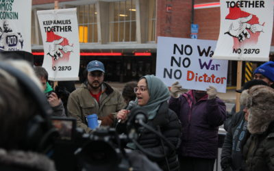 Immigration Supporters Face Trump Rally Attendees